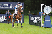 Blair Atholl, Scotland, UK. 12th September, 2015. Longines  FEI European Eventing Championships 2015, Blair Castle. Holly Woodhead (GBR) riding DHI Lupin during the Cross country phase © Julie Priestley