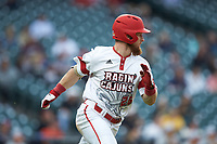 Daniel Lahare (26) of the Louisiana Ragin' Cajuns hustles down the first base line against the Vanderbilt Commodores in game five of the 2018 Shriners Hospitals for Children College Classic at Minute Maid Park on March 3, 2018 in Houston, Texas.  The Ragin' Cajuns defeated the Commodores 3-0.  (Brian Westerholt/Four Seam Images)