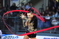 Ganna Rizatdinova of Ukraine performs with ribbon in senior All Around at 2011 Holon Grand Prix, Israel on March 4, 2011.  (Photo by Tom Theobald).