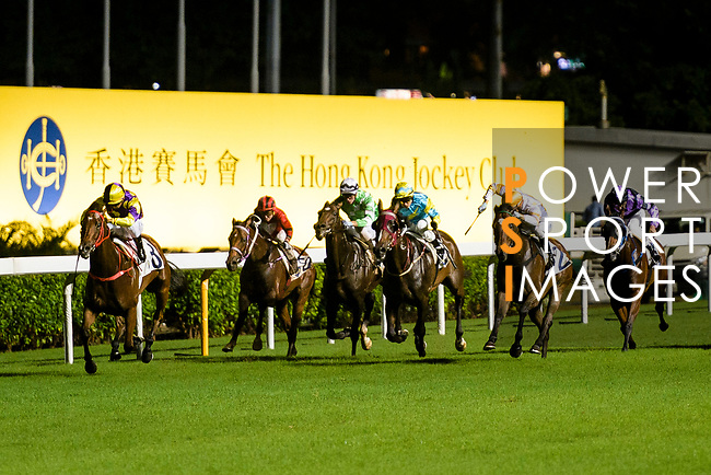 Jockeys riding their horses during the Hong Kong Racing at Happy Valley Race Course on June 13, 2018 in Hong Kong, Hong Kong. Photo by Marcio Rodrigo Machado / Power Sport Images