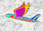 Illustrative image of multi colored airplane with wings representing vacation