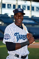 Tampa Tarpons Estevan Florial (34) poses for a photo before a game against the Fort Myers Miracle on May 2, 2018 at George M. Steinbrenner Field in Tampa, Florida.  Fort Myers defeated Tampa Tarpons 5-0.  (Mike Janes/Four Seam Images)