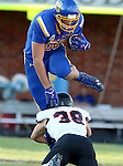 BROOKINGS, SD - SEPTEMBER 12:  Dallas Goedert #86 from South Dakota State hurdles Dayton Deloach #38 from Southern Utah in the first half of their game Saturday night in Brookings. (Photo by Dave Eggen/Inertia)