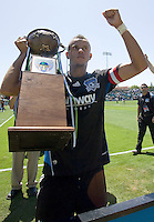 02 August 2009: Jason Hernandez of the Earthquakes holds up Heritage Cup trophy after the game against the Sounders at Buck Shaw Stadium in Santa Clara, California.   Earthquakes defeated Sounders FC, 4-0.