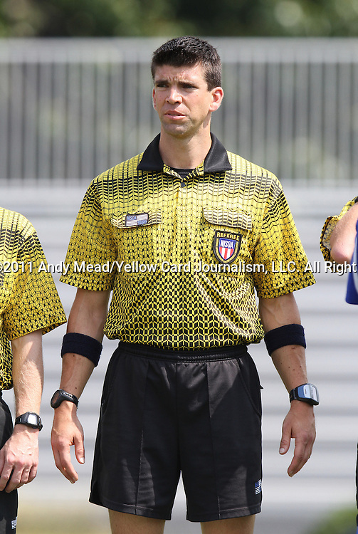 04 September 2011: Match referee Michael Donovan. The Southern Methodist University Mustangs defeated the Duke University Blue Devils 1-0 in overtime at Koskinen Stadium in Durham, North Carolina in an NCAA Division I Men's Soccer game.