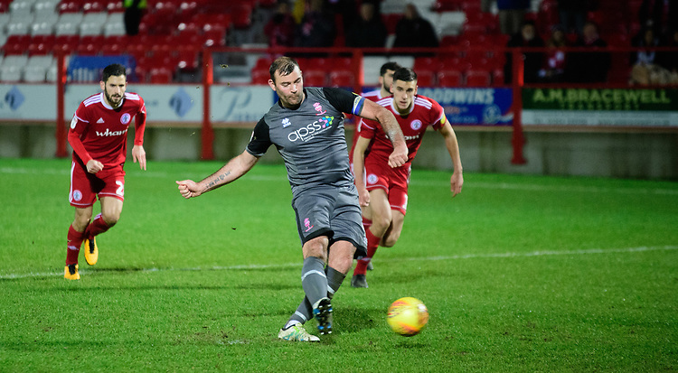 Lincoln City's Matt Rhead misses a chance to score from the penalty spot<br /> <br /> Photographer Andrew Vaughan/CameraSport<br /> <br /> The EFL Checkatrade Trophy Second Round - Accrington Stanley v Lincoln City - Crown Ground - Accrington<br />  <br /> World Copyright &copy; 2018 CameraSport. All rights reserved. 43 Linden Ave. Countesthorpe. Leicester. England. LE8 5PG - Tel: +44 (0) 116 277 4147 - admin@camerasport.com - www.camerasport.com