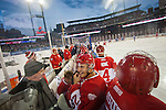 31 December 2013: Former Detroit Red Wings defenseman Brian Rafalski (28) adjusts his helmet on the bench, during the Toronto Maple Leafs v Detroit Red Wings Alumni Showdown hockey game, at Comerica Park, in Detroit, MI.