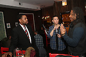 5th Ward aldermanic candidate, Jocelyn Hare spoke with Kendal parker and Dave Stovall during her campaign party located at Bureau Bar located at 75 E. 16th Street.