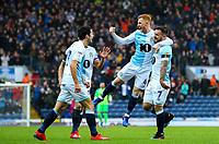 Blackburn Rovers' Adam Armstrong celebrates with teammates after he opened the scoring<br /> <br /> Photographer Alex Dodd/CameraSport<br /> <br /> The EFL Sky Bet Championship - Blackburn Rovers v Hull City - Saturday 26th January 2019 - Ewood Park - Blackburn<br /> <br /> World Copyright © 2019 CameraSport. All rights reserved. 43 Linden Ave. Countesthorpe. Leicester. England. LE8 5PG - Tel: +44 (0) 116 277 4147 - admin@camerasport.com - www.camerasport.com