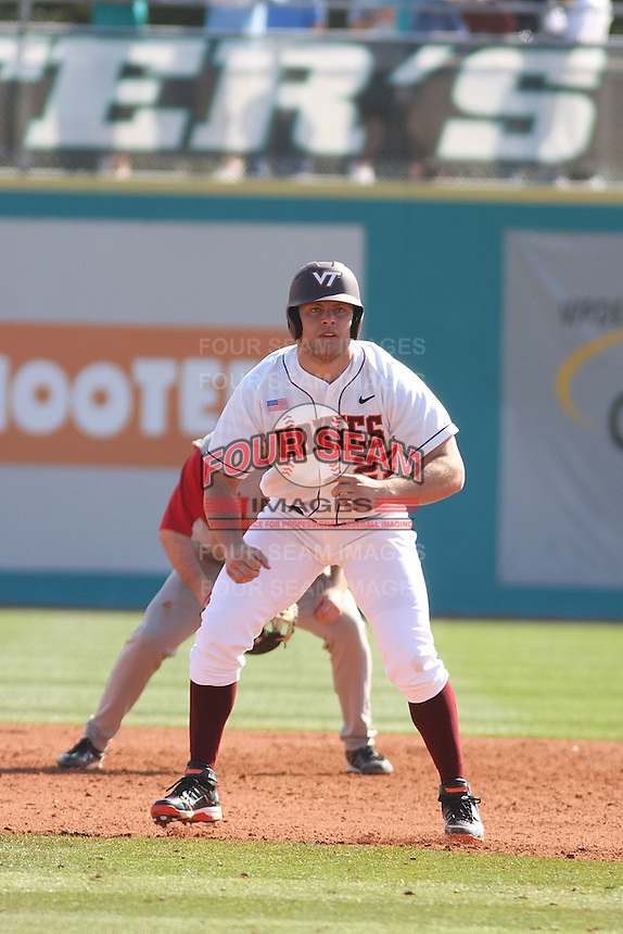 Tyler Horan #27 of the Virginia Tech Hokies leading off first base during a game against the University of Indiana Hoosiers  at Watson Stadium at Vrooman Field in Conway, South Carolina on February 18, 2011. Photo by Robert Gurganus/Four Seam Images