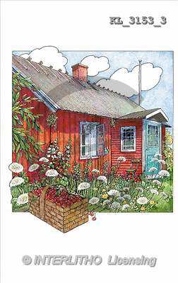 Interlitho, LANDSCAPES, paintings, red house(KL3153/3,#L#) Landschaften, Schiffe, paisajes, barcos, llustrations, pinturas