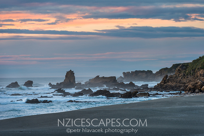 Twilight on wild beach near Punakaiki, Paparoa National Park, Buller Region, West Coast, New Zealand, NZ