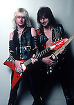 "K.K. Downing, Glen Tipton, Nov 1982, founding members of Judas Priest, the Grammy Award winning English heavy metal band from Birmingham, formed in 1969. They have been cited as an influence on many heavy metal musicians and bands. Their popularity and status as one of the definitive heavy metal bands has earned them the nickname ""Metal Gods"""