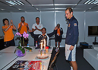 Switserland, Genève, September 19, 2015, Tennis,   Davis Cup, Switserland-Netherlands, Birthday cace for Dutch Timo de Bakker who turns 27 today<br /> Photo: Tennisimages/Henk Koster