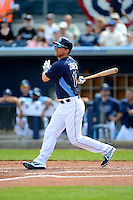 Tampa Bay Rays infielder Ben Zobrist #18 during a Grapefruit League Spring Training game against the Boston Red Sox at Charlotte County Sports Park on February 25, 2013 in Port Charlotte, Florida.  Tampa Bay defeated Boston 6-3.  (Mike Janes/Four Seam Images)