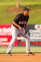 Shortstop Jonathan Schoop #46 of the Delmarva Shorebirds on defense against the Kannapolis Intimidators at Fieldcrest Cannon Stadium on May 21, 2011 in Kannapolis, North Carolina.   Photo by Brian Westerholt / Four Seam Images