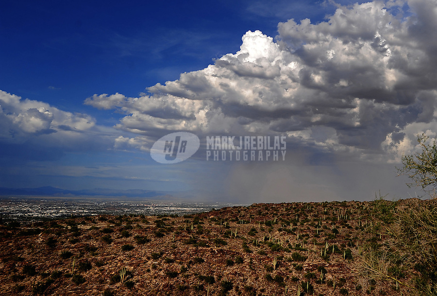 desert weather storm chaser chasing clouds sky Arizona monsoon thunderstorm dust sand haboob South Mountain Phoenix saguaro cactus