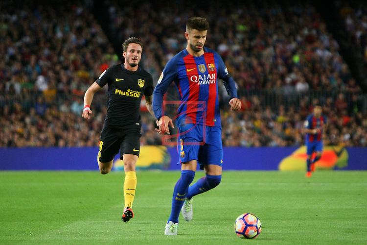 League Santander 2016/2017. Game: 5.<br /> FC Barcelona vs Atletico de Madrid: 1-1.<br /> Saul vs Gerard Pique.
