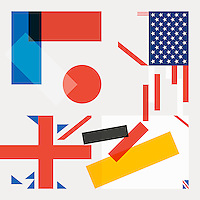 Abstract collage of country flags falling apart  ExclusiveImage ExclusiveArtist ExclusiveArtist