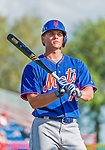 5 March 2015: New York Mets infielder Gavin Cecchini awaits his turn in the batting cage prior to a Spring Training game against the Washington Nationals at Space Coast Stadium in Viera, Florida. The Mets fell to the Nationals after a late inning rally, dropping a 5-4 Grapefruit League game. Mandatory Credit: Ed Wolfstein Photo *** RAW (NEF) Image File Available ***