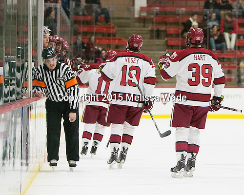 CJ Hanafin, Kyle Criscuolo (Harvard - 11), Jimmy Vesey (Harvard - 19), Brian Hart (Harvard - 39) - The Harvard University Crimson defeated the Brown University Bears 4-3 to sweep their first round match up in the ECAC playoffs on Saturday, March 7, 2015, at Bright-Landry Hockey Center in Cambridge, Massachusetts.