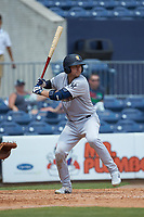 Kyle Higashioka (66) of the Scranton/Wilkes-Barre RailRiders at bat against the Gwinnett Stripers at Coolray Field on August 18, 2019 in Lawrenceville, Georgia. The RailRiders defeated the Stripers 9-3. (Brian Westerholt/Four Seam Images)