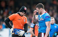 Picture by Allan McKenzie/SWpix.com - 11/03/2018 - Rugby League - Betfred Super League - Castleford Tigers v Salford Red Devils - the Mend A Hose Jungle, Castleford, England - Luke Burgess tends to an injury.