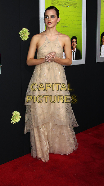 "Emma Watson.Premiere Of Summit Entertainment's ""The Perks Of Being A Wallflower"" Held At ArcLight Cinemas, Hollywood, California, USA..September 10th, 2012.full length beige sleeveless tiered hands arms layered layers dress maxi lace tulle   .CAP/ADM/RE.©Russ Elliot/AdMedia/Capital Pictures."