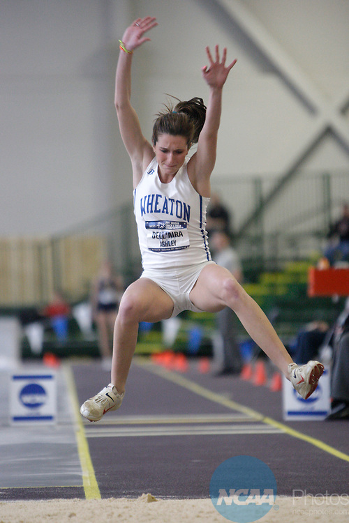 12 MAR 2011: Ashley Dell'Aria of Wheaton College (MA) triple jumps during the Division III Men's and Women's Indoor Track and Field Championships held at the Capital Center Fieldhouse on the Capital University campus in Columbus, OH.  Jay LaPrete/NCAA Photos