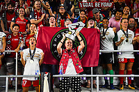 Orlando, FL - Saturday October 14, 2017:  Portland Thorns FC and fans celebrate their National Women's Soccer League (NWSL) Championship win by defeating North Carolina Courage 1-0 during the NWSL Championship match between the North Carolina Courage and the Portland Thorns FC at Orlando City Stadium.