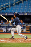 Michael Berglund (3) follows through on a swing during the Tampa Bay Rays Instructional League Intrasquad World Series game on October 3, 2018 at the Tropicana Field in St. Petersburg, Florida.  (Mike Janes/Four Seam Images)
