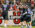 April 27, 2012:  #4 Duke players celebrate a goal against #16 Denver during the Whitman's Sampler Mile High Classic, Sports Authority Field at Mile High, Denver, CO.  #16 Denver defeats #4 Duke 15-9.