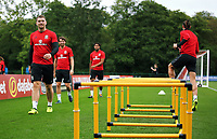 Sam Vokes (R) in action with team mates during the Wales Training Session at the Vale Resort, Hensol, Wales, UK. Tuesday 29 August 2017