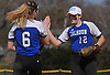 Heather Berberich #12, Calhoun shortstop, right, congratulates pitcher Meghan Vecchione #6 after her 9-0 shutout over Baldwin in a Nassau AA-I/AA-II crossover game at Calhoun High School on Saturday. April 14, 2018. Vecchione struck out 15 batters in the win.