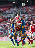 Rotherham players during the Sky Bet League 1 Play Off FINAL match between Rotherham United and Shrewsbury Town at Wembley, London, England on 27 May 2018. Photo by Andrew Aleksiejczuk / PRiME Media Images.