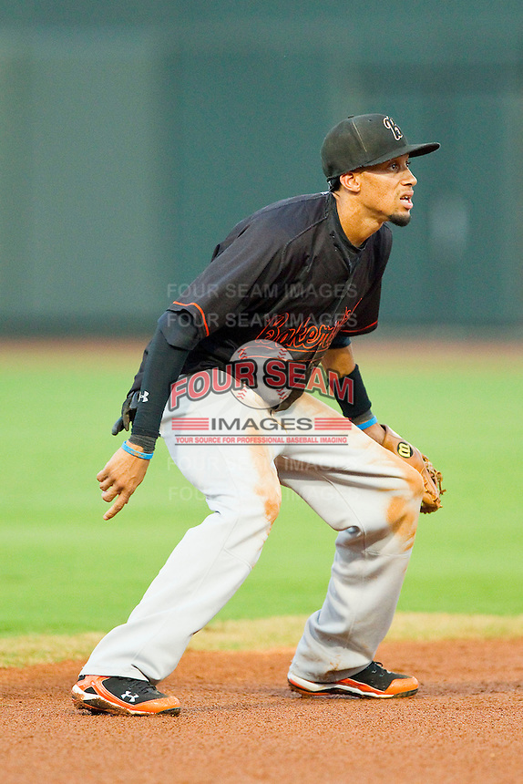 California League All-Star shortstop Billy Hamilton #4 of the Bakersfield Blaze on defense against the Carolina League All-Stars during the 2012 California-Carolina League All-Star Game at BB&T Ballpark on June 19, 2012 in Winston-Salem, North Carolina.  The Carolina League defeated the California League 9-1.  (Brian Westerholt/Four Seam Images)