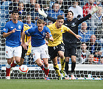 Dean Shiels runs the ball out of defence