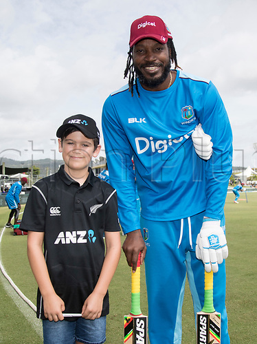20th December, 2017, Whangarei, New Zealand;  ANZ Coin Toss winner James Bailey with Chris Gayle. New Zealand Black Caps versus West Indies, first One Day International cricket, Cobham Oval, Whangarei, New Zealand. Wednesday, 20 December, 2017.