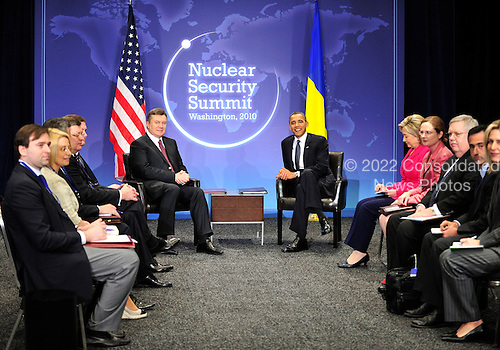 United States President Barack Obama holds bilateral meeting with President Viktor Yanukovich of Ukraine on the sidelines of the Nuclear Security Summit at the Washington Convention Center, Monday, April 12, 2010 in Washington, DC. .Credit: Ron Sachs / Pool via CNP