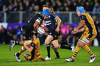 Zach Mercer of Bath Rugby takes on the Bristol Rugby defence. European Rugby Challenge Cup match, between Bath Rugby and Bristol Rugby on October 20, 2016 at the Recreation Ground in Bath, England. Photo by: Patrick Khachfe / Onside Images
