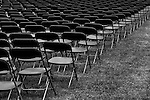 Rows of empty seats before a memorial day service