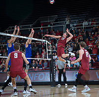 STANFORD, CA - March 2, 2019: Eli Wopat, Jordan Ewert, Stephen Moye at Maples Pavilion. The Stanford Cardinal defeated BYU 25-20, 25-20, 22-25, 25-21.