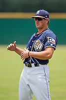 San Antonio Missions designated hitter Hunter Renfroe (10) warms up before the Texas League baseball game against the Midland RockHounds on June 28, 2015 at Nelson Wolff Stadium in San Antonio, Texas. The Missions defeated the RockHounds 7-2. (Andrew Woolley/Four Seam Images)