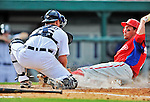 9 March 2012: Philadelphia Phillies outfielder Scott Podsednik is tagged out out at the plate by catcher Bryan Holaday during a Spring Training game against the Detroit Tigers at Joker Marchant Stadium in Lakeland, Florida. The Phillies defeated the Tigers 7-5 in Grapefruit League action. Mandatory Credit: Ed Wolfstein Photo