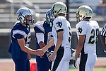 Torrance, CA 09/08/11 - Max MacLeay (Peninsula #5) and Issac Kuo (Peninsula #28) in action during the North-Peninsula Junior Varsity Football game at North High School in Torrance.