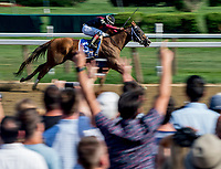 SARATOGA SPRINGS, NY - AUGUST 25: Whitmore  #3, ridden by jockey Ricardo Santana, Jr., wins the Forego Stakes on Travers Stakes Day at Saratoga Race Course on August 25, 2018 in Saratoga Springs, New York. (Photo by Scott Serio/Eclipse Sportswire/Getty Images)