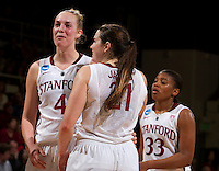 Stanford, CA., March 24, 2013-- Stanford's Taylor Greenfield, Sara James and Amber Orrange celebrate after Sunday, March 24, 2013, first round 2013 NCAA Division I Women Basketball game against Tulsa. Stanford won the game 72-56. ( Norbert von der Groeben / ISI Photo )