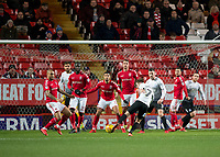Gwion Edwards of Peterborough United shoots at goal during the Sky Bet League 1 match between Charlton Athletic and Peterborough at The Valley, London, England on 28 November 2017. Photo by Vince  Mignott / PRiME Media Images.