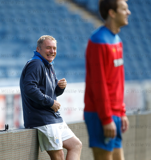 Ally McCoist laughing at Lee Wallace