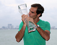 www.acepixs.com<br /> <br /> April 2 2017, Miami<br /> <br /> Roger Federer of Switzerland celebrates his victory in the 2017 Miami Open at The Rusty Pelican Restaurant in front of the Miami Skyline after defeating Rafael Nadal of Spain on April 2, 2017 in Key Biscayne, Florida.<br /> <br /> <br /> By Line: Solar/ACE Pictures<br /> <br /> ACE Pictures Inc<br /> Tel: 6467670430<br /> Email: info@acepixs.com<br /> www.acepixs.com